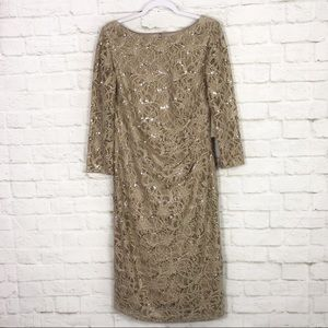 Eliza J Lace Sequin Ruched Side Cocktail Dress NWT